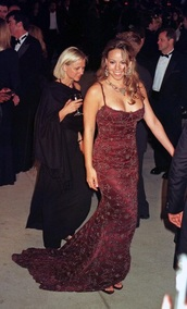 dress,red dress,gown,evening dress,mariah carey,celebrity style