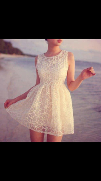 dress pretty white lace dress cute dress summer dress