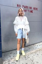 shorts,denim,shoes,sneakers,top,white top,bag