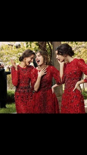 dress,red dress,bridesmaid,lace dress,lace,dolce and gabbana