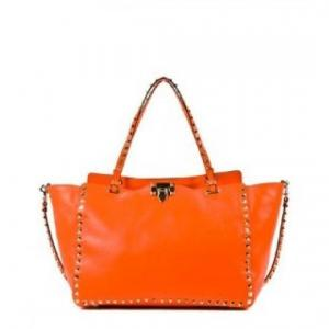 Valentino Orange Rockstud Tote - Calf Leather - Sale