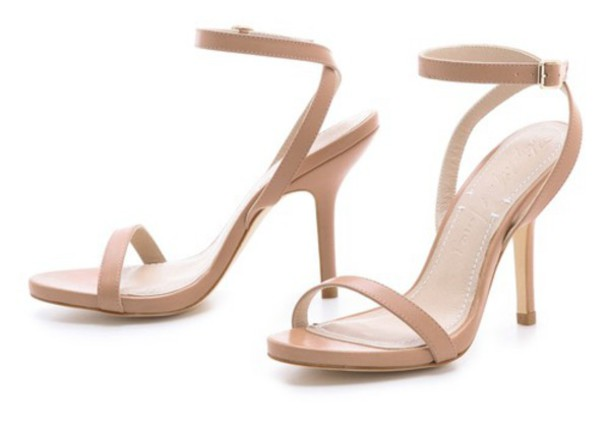 Shoes: nude ankle strap sandal low heels mid heel sandals