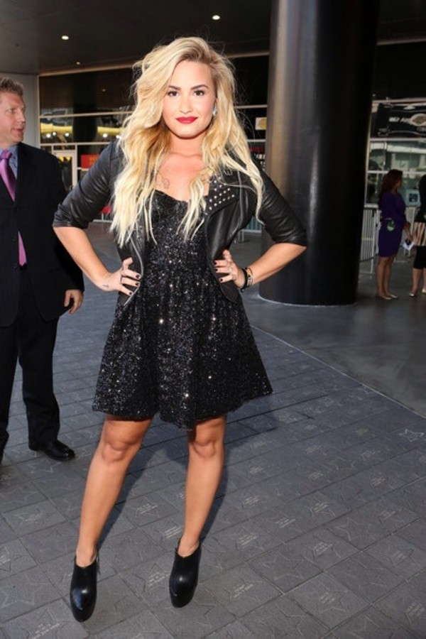 dress demi lovato little black dress jacket shoes