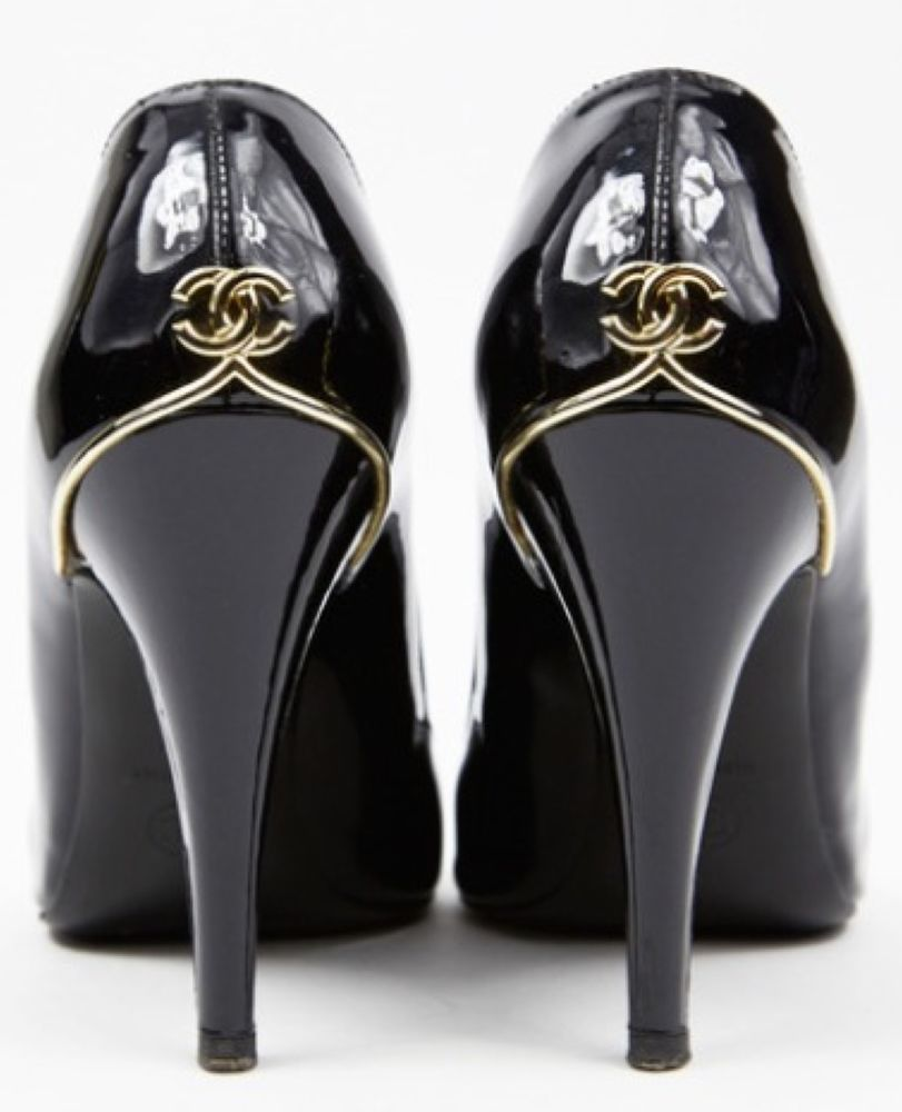 Chanel CC Patent Leather Pumps High Heels Black 39 5 | eBay