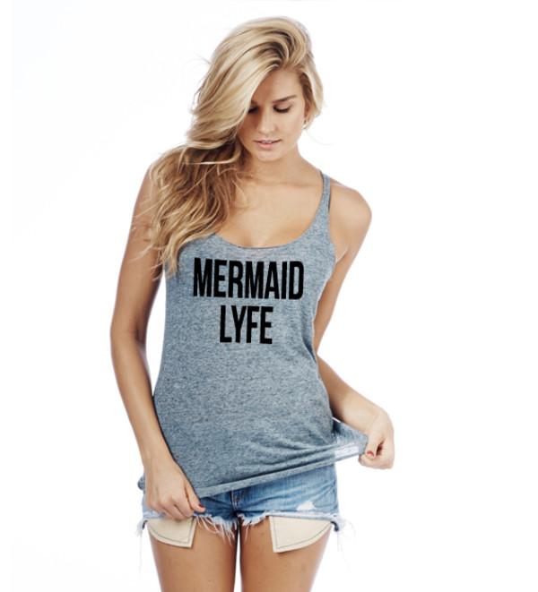 tanks mermaid mermaid shirt mermaid life racerback racerback tanktop graphic tee slogan tee graphic tee graphic tank top