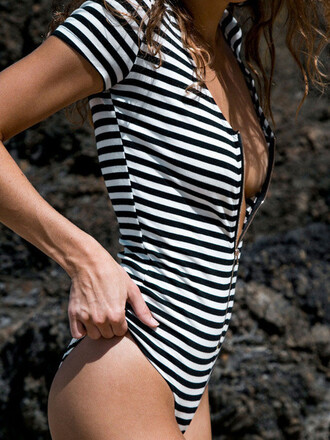 top bodysuit sexy summer black and white stripes beach hot mns