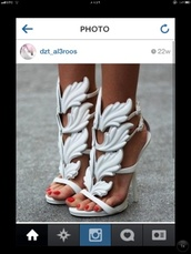 shoes,white high heels,giuseppe zanotti,angel wings,high heels,white,heels,leaves,greek,stilettos,open-toed,silver,straps,strappy,helena,greece,gladiators,sandals,cute high heels,wings,angel wings heels