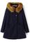 Navy faux fur hooded pockets woolen coat