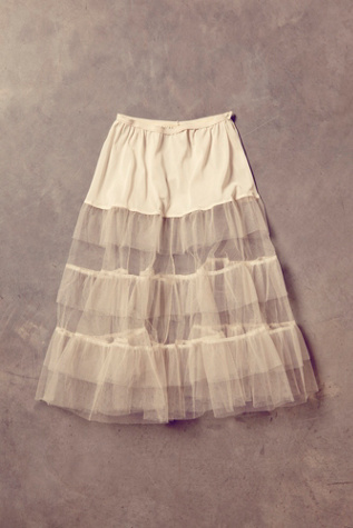 free people womens vintage white tulle skirt
