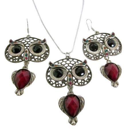 Owl nocturnal bird glowing eyes pendant earrings sign of wisdom jewelry