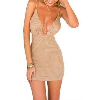 dress girl girly girly wishlist bodycon bodycon dress nude nude dress mini dress cute v neck v neck dress plunge v neck