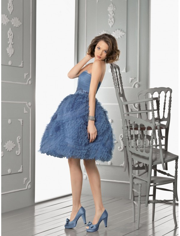 Tulle Strapless Neckline Ball Gown Evening Dress with Exaggerated Ruffle Skirt - Special Occasion - RainingBlossoms
