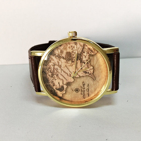 middle earth map watch lord of the ringsvintage style leather watch women watches boyfriend watch world