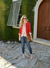 fash boulevard,blogger,red jacket,polka dots,top,jacket,shoes,bag,jewels