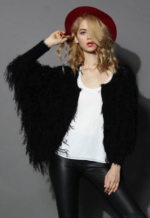 chicwish slouchy shaggy coat