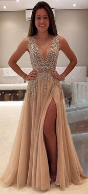 dress,prom dress,this exact prom dress,nude,sequins,sequin dress,beige,diamonds,pretty,deep v-neck dress,long prom dress,diamond dress,nude dress,sexy dress,silver,gold,plunge v neck,prom