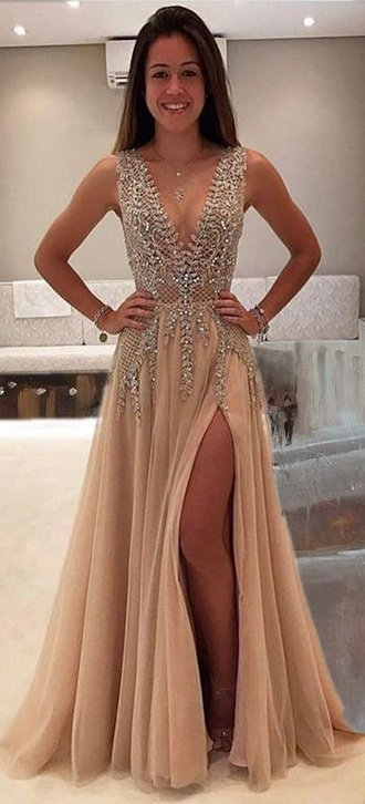 dress prom dress this exact prom dress nude sequins sequin dress beige diamonds pretty deep v-neck dress long prom dress diamond dress nude dress sexy dress silver gold plunge v neck prom