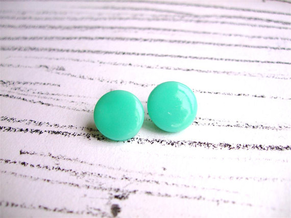 Mint green stud earrings Mint earrings Pastel by bloomyjewelry