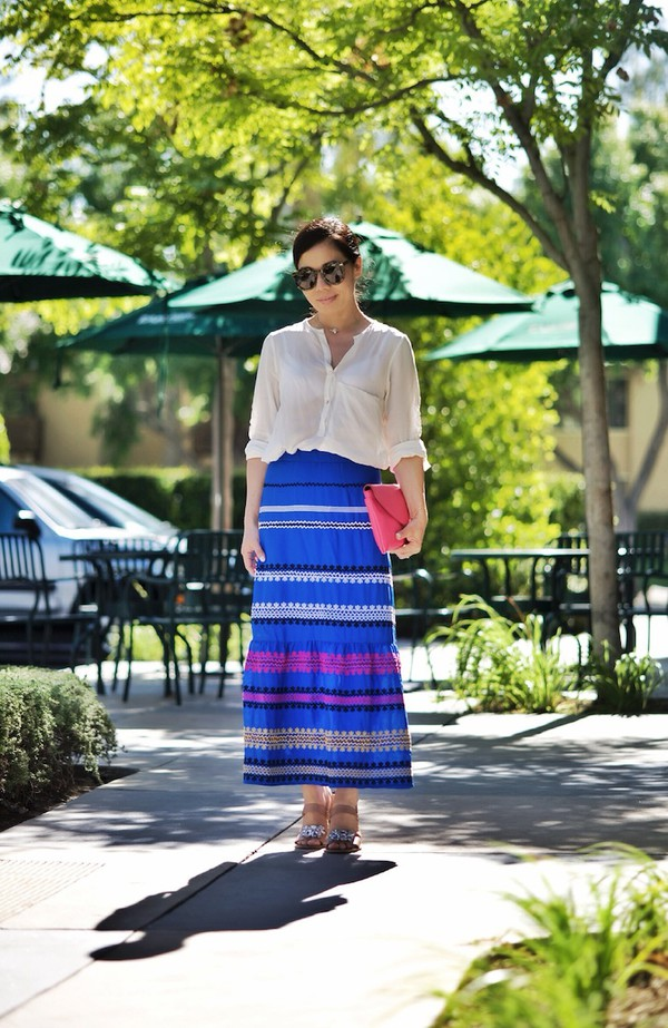 hallie daily blouse bag skirt shoes jewels embroidered embroidered skirt blue skirt maxi skirt high waisted skirt shirt white shirt sunglasses clutch pink clutch sandals jeweled sandals