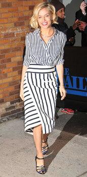 sienna miller,striped skirt,striped shirt,jumpsuit,skirt,blouse,jewels,shoes