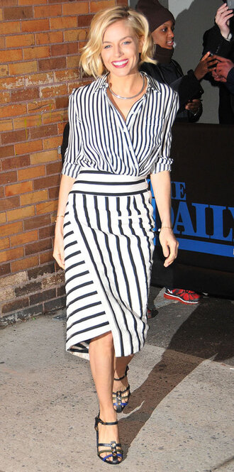 sienna miller striped skirt striped shirt jumpsuit skirt blouse jewels shoes