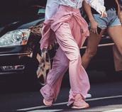 pants,pink,pink pants,pink satin,pretty in pink,model,gigi hadid