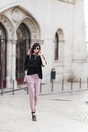 bekleidet,blogger,pants,t-shirt,dusty pink