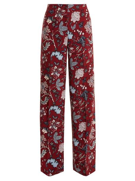 Diane Von Furstenberg floral print burgundy pants