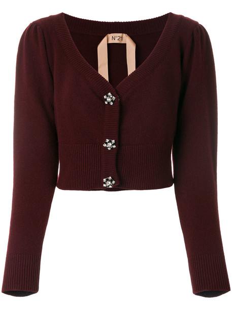 No21 cardigan cardigan cropped women wool red sweater