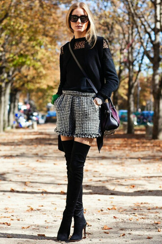 shorts vest fashion week 2014 olivia palermo streetstyle fall outfits knee high boots top