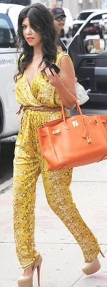 kourtney kardashian bag orange yellow romper spring summer shoes