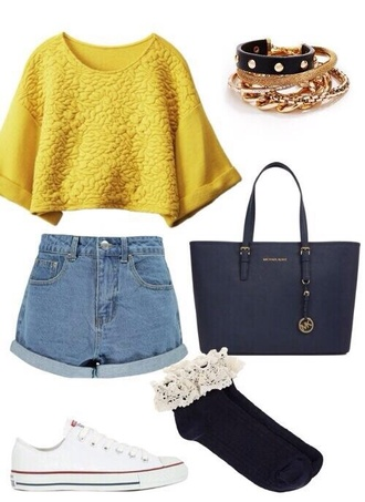 hipster floral high waisted shorts socks set bracelets bracelets shorts shirt jewels outfit h&m zara yellow top sweater