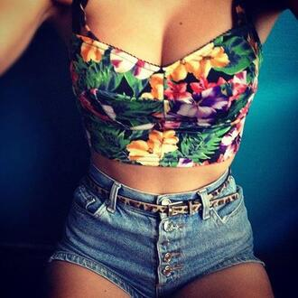 t-shirt floral crop tops bralette shorts shirt corpetto tropical top flowers balconette tank top clothes foral summer cute blouse bustier
