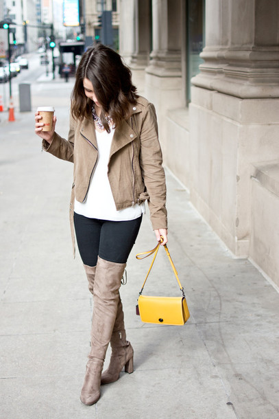 champagne&citylights blogger shoes bag top jewels jacket jeans yellow bag thigh high boots boots beige jacket