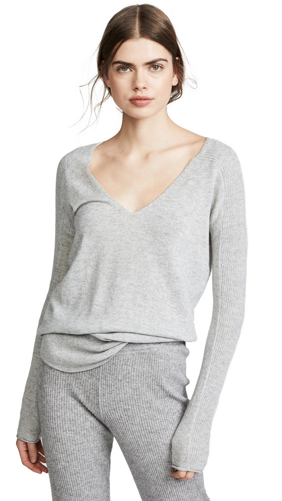 M.PATMOS Hutton Shirttail Cashmere Sweater in grey