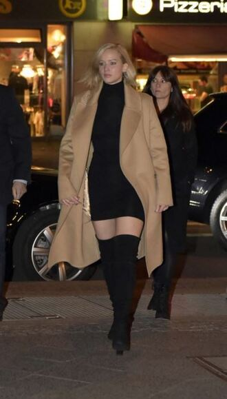 coat camel coat camel bodycon dress jennifer lawrence boots fall outfits dress shoes