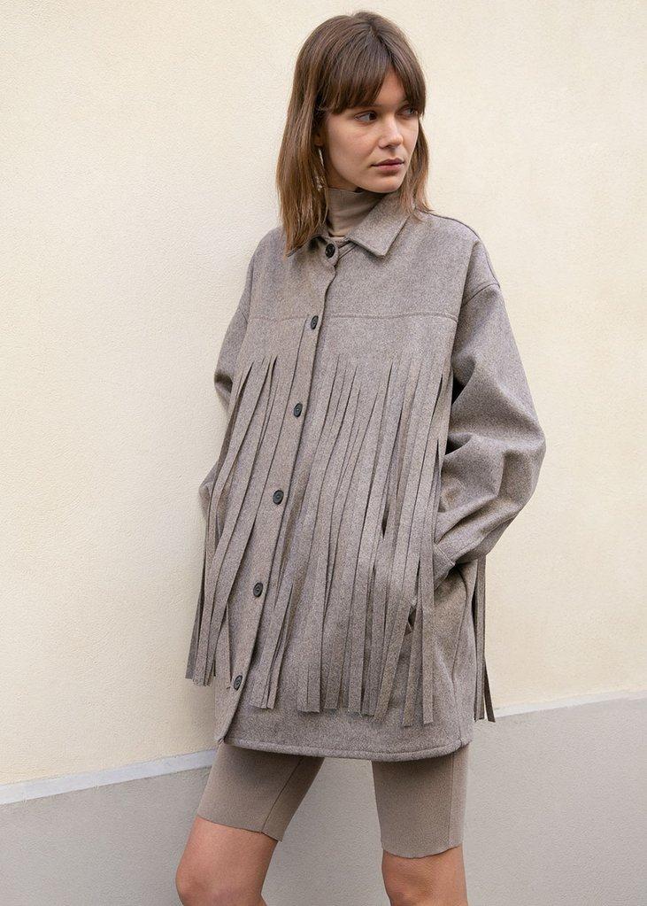 Covert Fringe Shirt Jacket in Grey