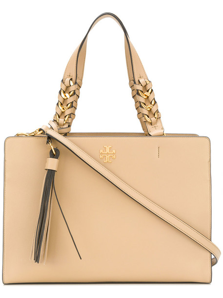 Tory Burch - structured tote bag - women - Leather - One Size, Nude/Neutrals, Leather