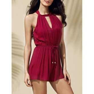romper rose wholesale burgundy cute summer chic trendy girl girly halter top tumblr