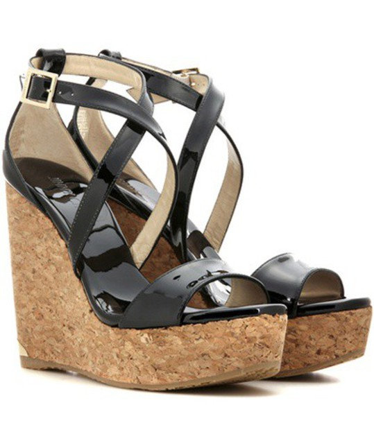 Jimmy Choo sandals wedge sandals leather black shoes