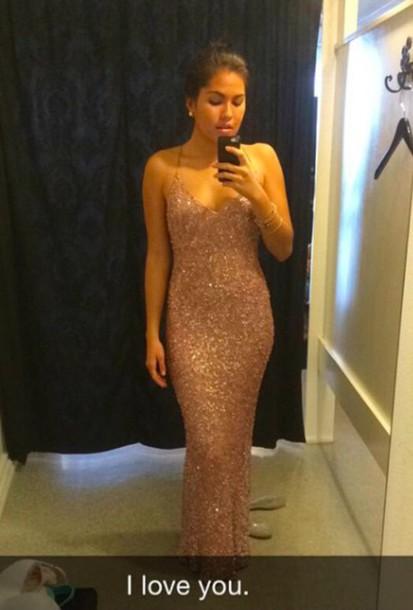 dress gold sequins spaghetti straps dress prom dress