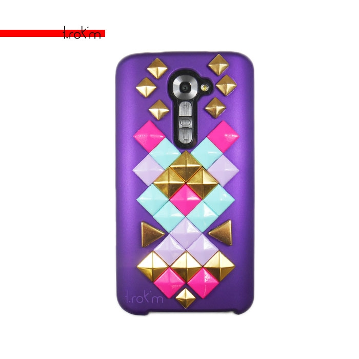 LG G2 Intergalactic Goddess Purple Hard Cover Case Studded Multi-color Pyramids Triangles