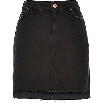 skirt black skirt frayed denim
