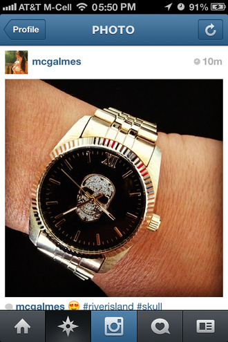 jewels black gold skull fashion watch bling river island jewelry weheartit