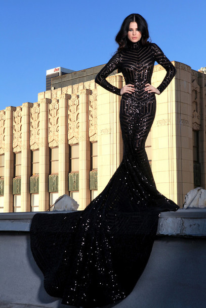 sequin Black dress long prom
