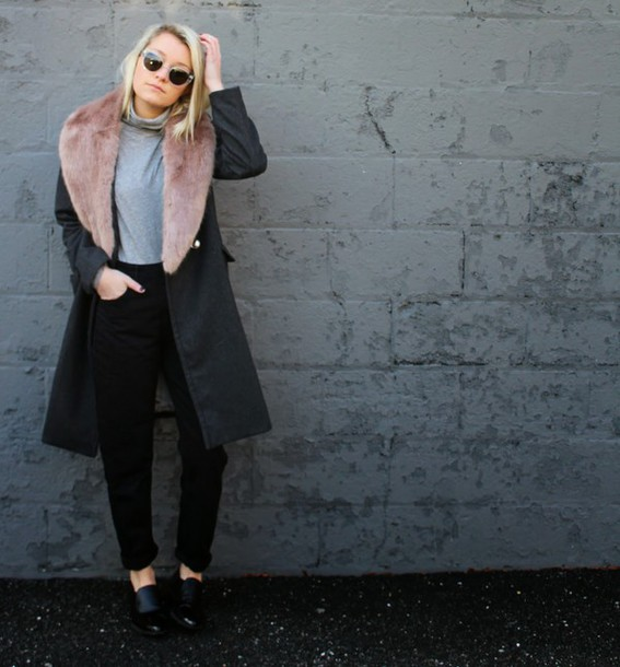 platinum and penniless blogger winter coat black pants