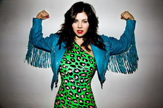dress celebrity diamonds marina and the diamonds leopard print green green dress blue jacket blue jacket