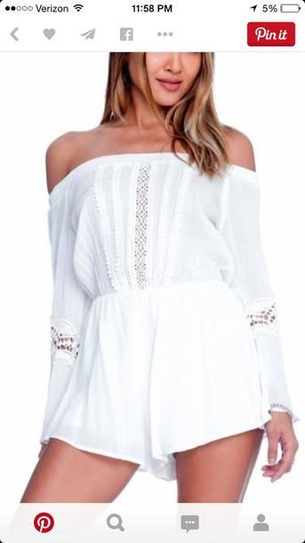 jumpsuit white summer cute sweater fall knit/crochet romper