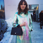 coat,alexa chung,holographic,jacket,fashion,bag