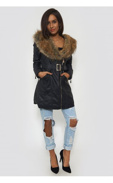 Sienna Black Faux Fur Longline Coat - from The Fashion Bible UK